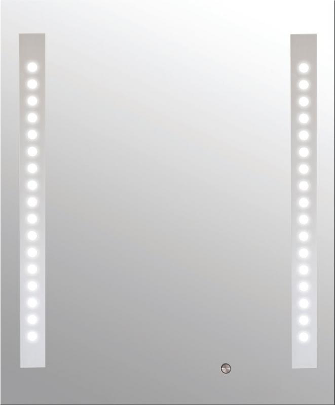 Loki  500х600 ХромМебель для ванной<br>Dubiel Vitrum Loki  500х600 зеркало для ванной комнаты. С вертикальными планками, декор мороз, с задней подсветкой из флуоресцентных лампочек, с орнаментом горошек на планках. С сенсорным переключателем. С рамой для подсветки с задней стороны зеркала.<br>