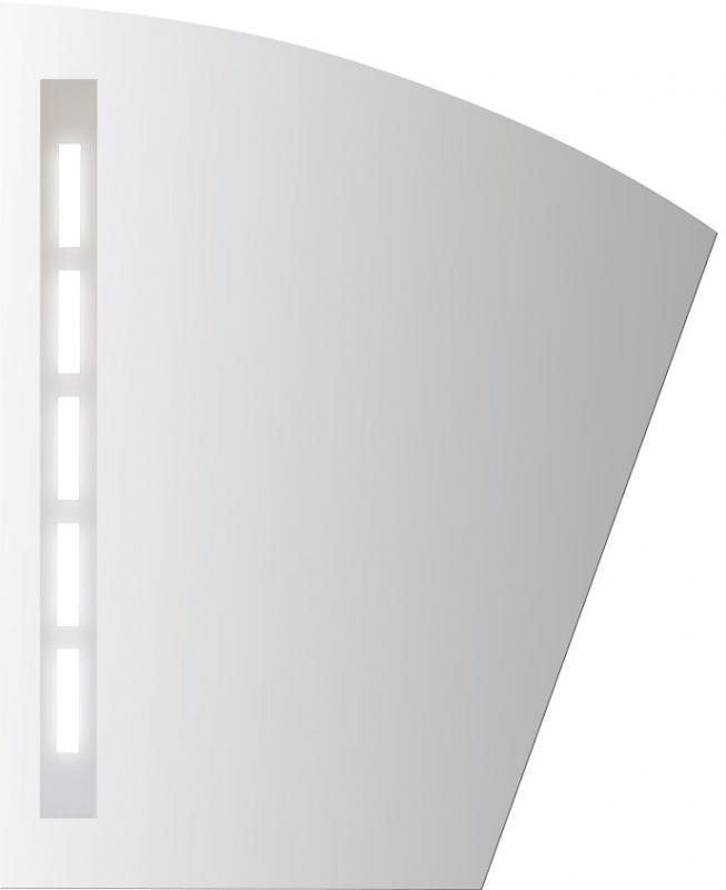 Inga II 490х600 ХромМебель для ванной<br>Dubiel Vitrum Inga II 490х600 серебряное  зеркало для ванной комнаты. <br>С дугообразной верхней кромкой, наклонной боковой кромкой и одной планкой декор мороз. С подсветкой с задней стороны с помощью флуоресцентных ламп. С рамой для подсветки (с задней стороны зеркала.<br>