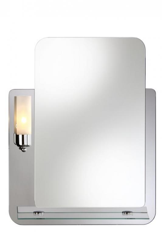 Lucas 530х680 ХромМебель для ванной<br>Dubiel Vitrum Lucas 530х680 зеркало для ванной комнаты.<br>Основание - графитное зеркало, с одной лампой-бра (красивого жёлтого цвета) и стеклянной полкой, прикреплённой (полувмонтированной) к зеркалу. С рамой для подсветки с задней стороны зеркала.<br>