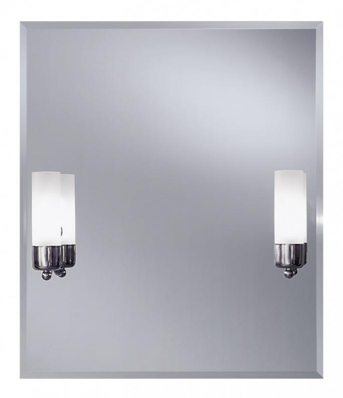 Cento 550х650 ХромМебель для ванной<br>Dubiel Vitrum Cento 550х650  серебряное зеркало для ванной комнаты. <br>С двумя вмонтированными лампами-бра. С рамой для подсветки с задней стороны зеркала.<br>