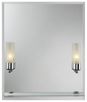 Cento II 550х650  ХромМебель для ванной<br>Dubiel Vitrum Cento II 550х650 серебряное  зеркало для ванной комнаты. <br>С двумя лампами-бра, одной стеклянной полкой (не прикреплённой).  С рамой для подсветки с задней стороны зеркала.<br>