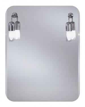 Atos 550х700 ХромМебель для ванной<br>Dubiel Vitrum Atos 550х700 серебряное зеркало для ванной комнаты. С округлыми уголками и скосом вдоль вертикальных сторон,  с двумя лампами. С рамой для подсветки с задней стороны зеркала.<br>