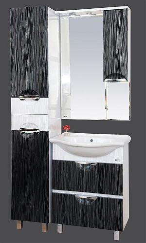 Лорд-55 с ящиками Бело-черная пленкаМебель для ванной<br>Тумба под раковину напольная с 2 ящиками Misty  Лорд-55 в комплекте с раковиной. Цвет бело-черная пленка.<br>