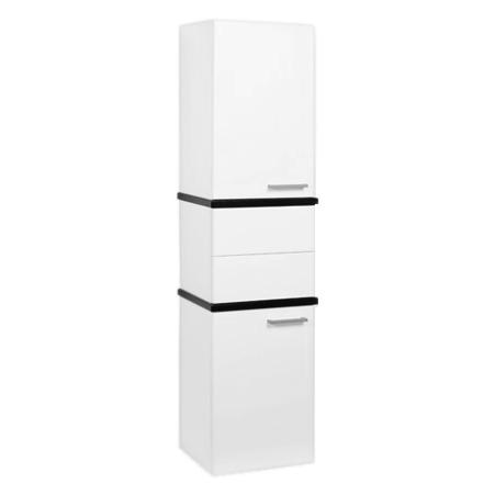 Турин Черный глянец с белыми панелямиМебель для ванной<br>Акватон 1A118003TU950 Турин шкаф-колонна<br>