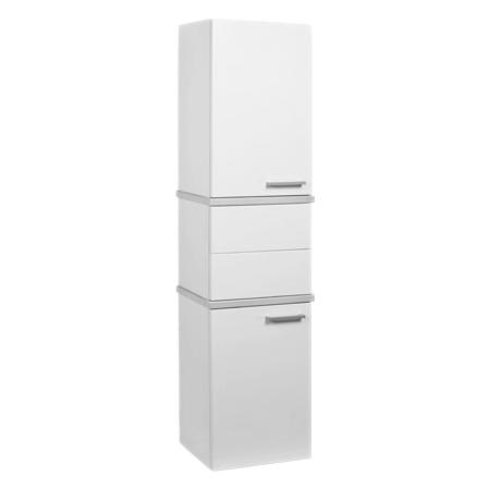 Шкаф-колонна Акватон Турин 1A118003TU950 Черный глянец с белыми панелями