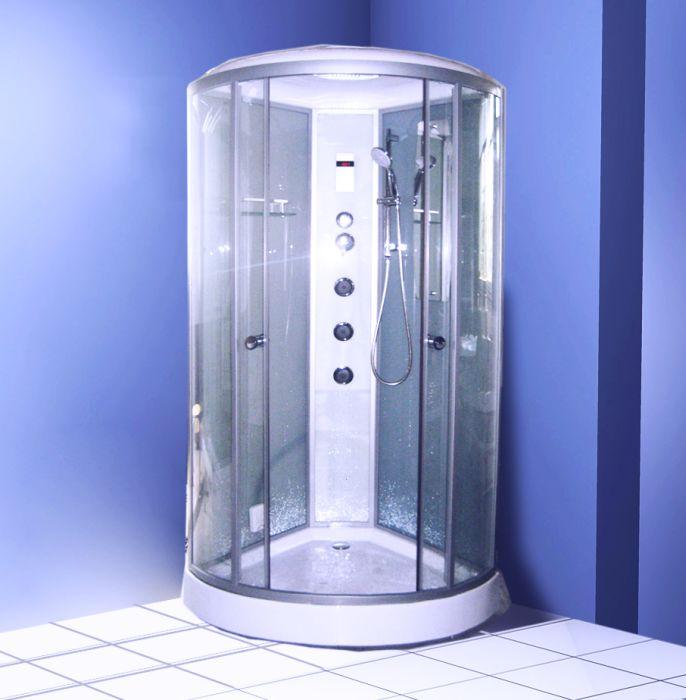 A-8003 стенки серое стеклоДушевые кабины<br>Душевая кабина Appollo A-8003 гидромассажная, с функцией пара. В комплект входят: вертикальный гидромассаж,эл.пульт управления,верхний и ручной душ,поддон 150мм, с зеркалом и полочкой для аксессуаров, верхний ролик двойной, нижний ролик с кнопкой, без насоса,выпуск - сифон (клик), радио. Все остальное приобретается дополнительно. Стенки - серое стекло.<br>