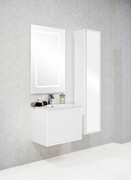 Римини 60 Белая глянцеваяМебель для ванной<br>Тумба под раковину Акватон Римини 60 1A177701RN010 с усиленными кронштейнами для подвески, с двумя выдвижными ящиками с механизмом плавного закрывания, с тремя ковриками против скольжения предметов. Корпус выполнен из ДСП с ламинированным покрытием, обладает повышенной влагостойкостью и сопротивляемостью износу, не выделяет вредных испарений, хорошо выдерживает воздействие бытовых химических средств, за исключением абразивных материалов и едких веществ и жидкостей. На фасадах тумбы установлены стеклянные панели.<br>