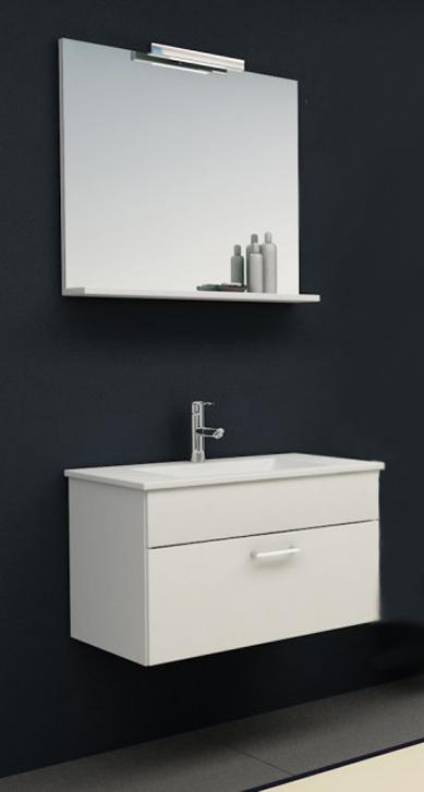Pixor 76 II БелаяМебель для ванной<br>Подвесная тумба Kolpa San Pixor 76 II с керамической раковиной и зеркалом с подсветкой. Цвет белый.<br>