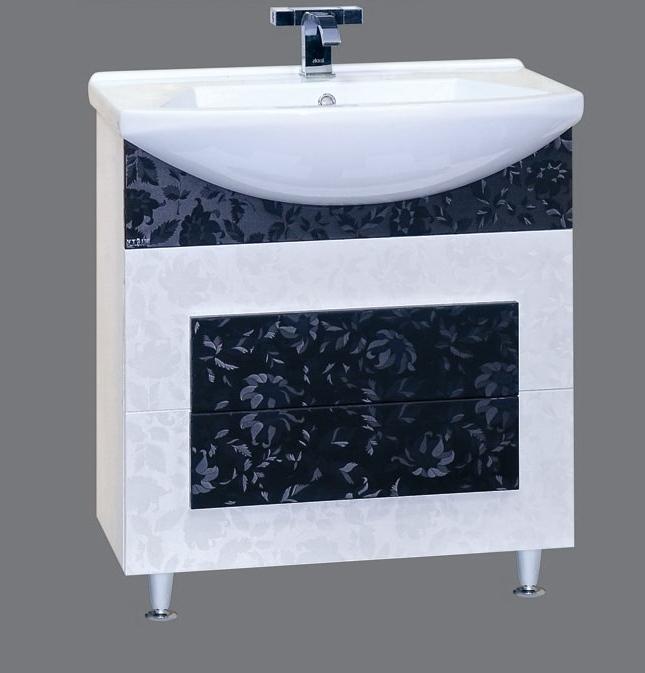 Марика-75 черно/белаяМебель для ванной<br>Тумба под раковину Misty Марика-75 с 2 ящиками в комплекте с раковиной. Цвет комбинированный черно-белый.<br>