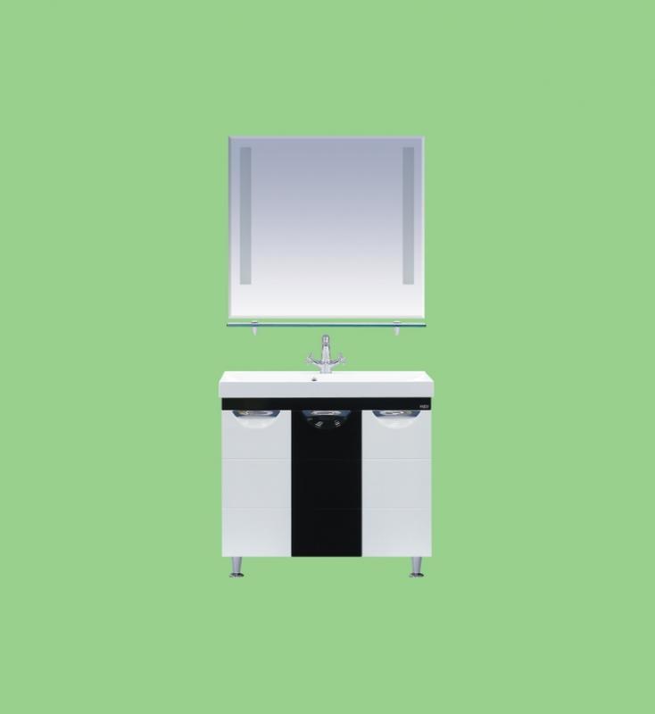 Петра-90 Белая с чернымМебель для ванной<br>Тумба под раковину Misty Петра-90 прямая с 3 ящиками  в комплекте с раковиной. Цвет белый с черным.<br>