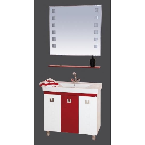 Эллада-90 комбинированная КраснаяМебель для ванной<br>Тумба прямая Эллада-90 комбинированная в комплекте с раковиной. Цвет красный с белым.<br>