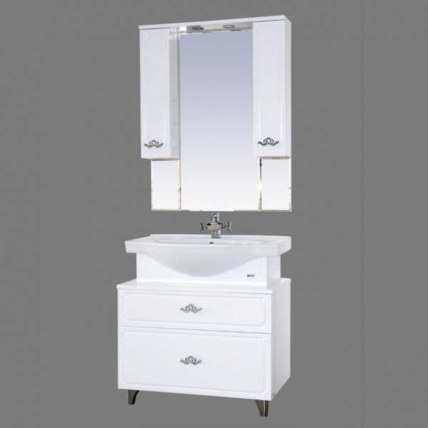 Камелия-80 Белая пленкаМебель для ванной<br>Тумба под раковину Misty Камелия-80 с 2 ящиками в комплекте с раковиной. Цвет белая пленка.<br>