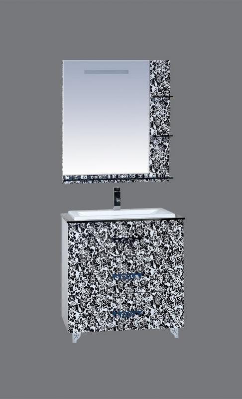 Мадлен Бостон-90 с 3 ящиками Черно-белаяМебель для ванной<br>Тумба под раковину Misty Мадлен Ботон-90 в комплекте с раковиной. Цвет черно-белый.<br>