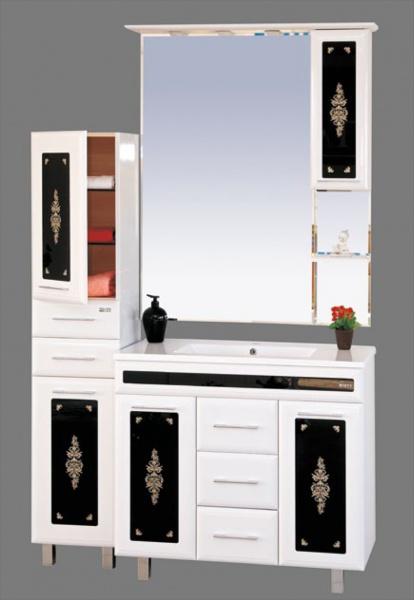 Мальта-105 Белая с вставкой из стекла с узоромМебель для ванной<br>Тумба в комплекте с раковиной Misty Мальта-105 с 3 ящиками. Цвет белый с вставкой из стекла с узором.<br>