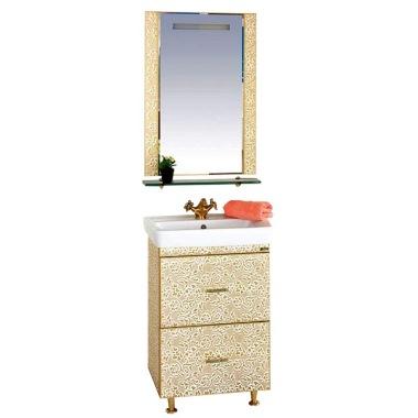 Гранд Luxe - 60 c 2 ящиками Золотая кожа ФлоральМебель для ванной<br>Тумба  Misty Гранд Luxe - 60 с 2 ящиками в комплекте с раковиной. Цвет золотая кожа Флораль.<br>