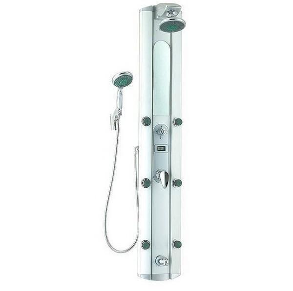 S2528 (152045) ХромДушевые панели<br>Gllon S2528 Душевая панель (152045) имеет 6 гидромассажных форсунок. В комплект входит: зеркало, хромированный душевой шланг со стойкой, хромированный смеситель для горячей и холодной воды, возможность установки в угол<br>