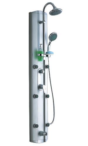 S2358 (152044) ХромДушевые панели<br>Gllon S2358 Душевая панель (152044) имеет 6 гидромассажных форсунок. В комплект входит: зеркало, хромированный душевой шланг со стойкой, хромированный смеситель для горячей и холодной воды, возможность установки в угол<br>