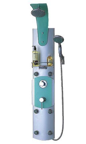 S2348 (152047) ХромДушевые панели<br>Gllon S2348 Душевая панель (152047) имеет 6 гидромассажных форсунок. В комплект входит: зеркало, хромированный душевой шланг со стойкой, хромированный смеситель для горячей и холодной воды, возможность установки в угол<br>