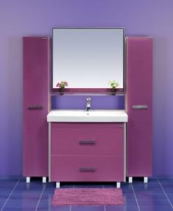 Джулия Qvatro - 105 с 2 ящиками СиреневаяМебель для ванной<br>Тумба в комплекте с раковиной Misty Джулия Qvatro - 105 с 2 ящиками. Цвет сиреневый.<br>