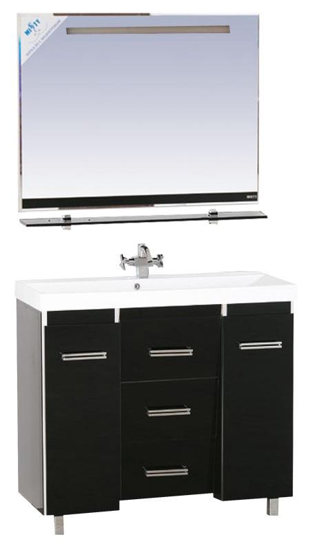 Джулия Qvatro - 105  с 3 ящиками конус Коричнево/бежеваяМебель для ванной<br>Тумба в комплекте с раковиной Misty Джулия Qvatro - 105 с 3 ящиками конус. Цвет коричнево/бежевый.<br>
