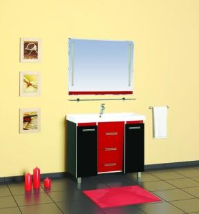 Джулия Qvatro - 105  с 3 ящиками конус Красно/чернаяМебель для ванной<br>Тумба в комплекте с раковиной Misty Джулия Qvatro - 105 с 3 ящиками конус. Цвет красно/черный.<br>