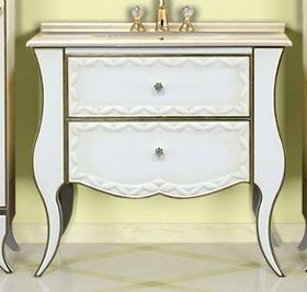 Анжелика-100 белая сусальное золотоМебель для ванной<br>Тумба с раковиной Misty Анжелика-100 c 2 ящиками и столешницей. Цвет белый сусальное золото.<br>