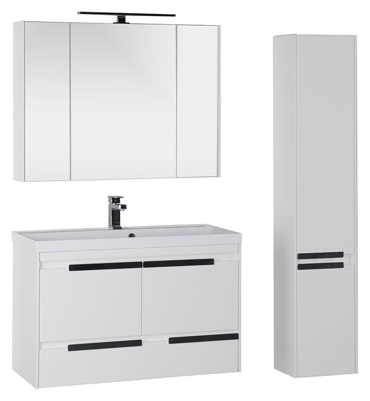 Тиволи 100 белая фасад черный 180067Мебель для ванной<br>Тумба под раковину подвесная Aquanet Тиволи 100.   Цвет белый фасад черный.<br>