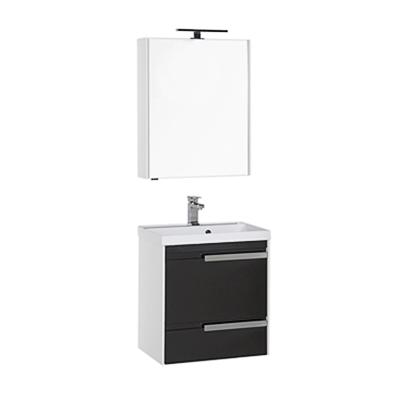 Тиволи 60 белая фасад черный  180063Мебель для ванной<br>Тумба под раковину подвесная Aquanet Тиволи 60.   Цвет белый фасад черный.<br>