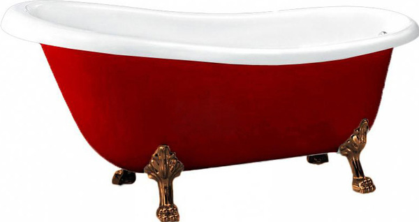 BB04-ROS-BRN КраснаяВанны<br>Свободностоящая акриловая ванна, исполнение  бронза, красный цвет. Слив-перелив, ножки и кронштейн приобретается отдельно. Ножки предоставляются в двух вариантах на Ваш выбор.<br>