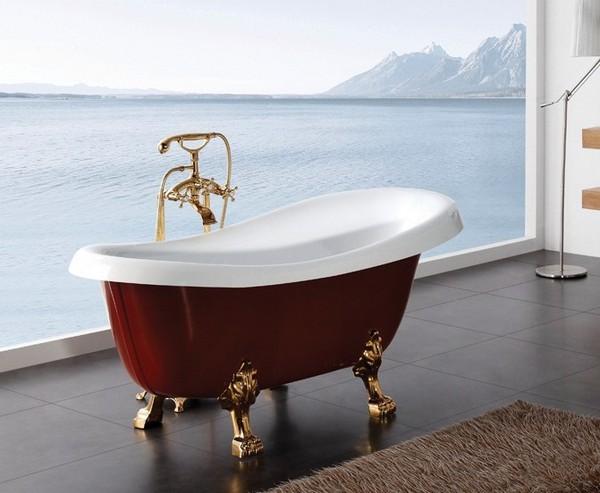 BB04-ROS-ORO КраснаяВанны<br>Свободностоящая акриловая ванна Belbagno BB04-ROS-ORO , исполнение  золото, красный цвет. Слив-перелив  приобретается отдельно.<br>