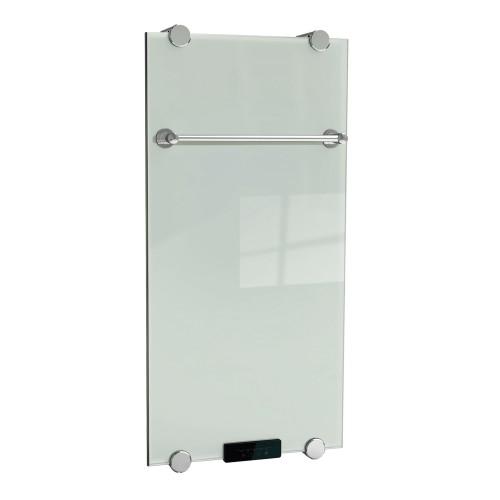 33 БелыйПолотенцесушители<br>Электрический полотенцесушитель-зеркало Домотерм dmt33  с терморегулятором. Мощность: 500 Вт. Электрический полотенцесушитель производится в виде триплекса из стекла. На нем устанавливается перекладина для просушивания текстильных изделий. Зеркальная поверхность подвергается нагреву для достижения оперативного обогрева помещения. Мощность изменяется в пределах 100-500 Вт, используя пульт ДУ. Главным достоинством полотенцесушителя является использование электроэнергии, преобразовывающейся в инфракрасное излучение, которое оказывает благоприятное воздействие на человеческий организм. Разогрев может производиться в пределах +55 °C. Дизайн-радиаторы можно устанавливать в любом произвольно выбранном месте благодаря отсутствию привязки к центральной отопительной системе, а не только в ванных комнатах. Кроме того, их можно с легкостью переустанавливать из одного места на другое.<br>