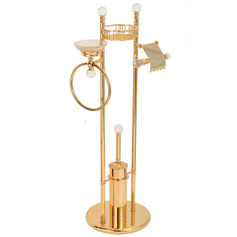 Cristalia Swarovski ML.CRS-60.244 DO (золото)Аксессуары для ванной<br>Стойка 4-х функциональная  Migliore Cristalia Swarovski ML.CRS-60.244 DO имеет держатель для туалетной бумаги, мыльницу с кольцом для полотенца, полку-решетку, ершик. Цвет золото.<br>