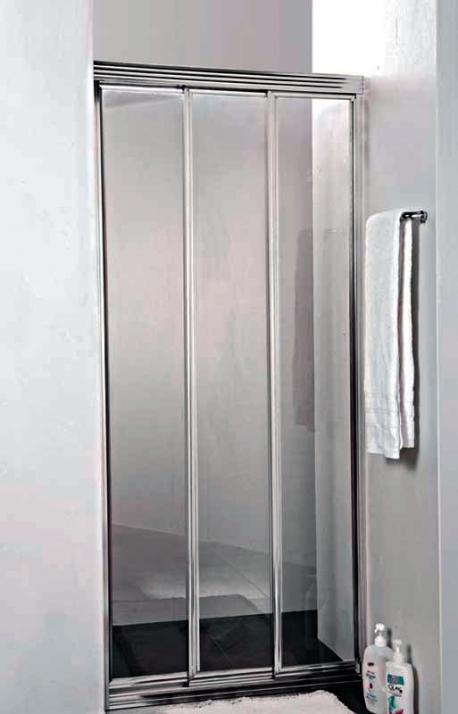 Family BF-3-90-C/P-Cr-M Текстурированное стеклоДушевые ограждения<br>Трех-секционная раздвижная душевая дверь Cezares BF-3-90-P-Cr. Стекло 5 мм.<br>