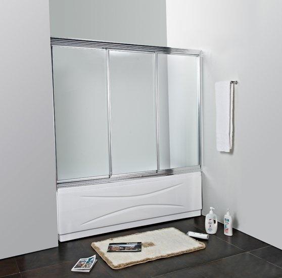 Family V-3-150/140-C/P-Cr-M Текстурированное стеклоДушевые ограждения<br>Шторка для ванны Cezares FAMILY-V-3-150/140-P-Cr-M.Три раздвижные секции.Стекло 5 мм.<br>