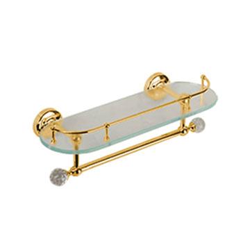Amerida Swarovski ML.AMR-60.429 DO (золото)Аксессуары для ванной<br>Полка стеклянная с галереей и полотенцедержателем длиной 36 см Migliore Amerida  Swarovski ML.AMR-60.429 DO. Цвет золото.<br>