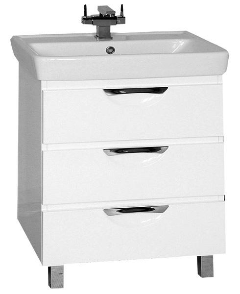Жасмин-70 с 3 ящиками Цвет белыйМебель для ванной<br>Тумба под раковину Misty Жасмин-70 с 3 ящиками и раковиной в комплекте.<br>