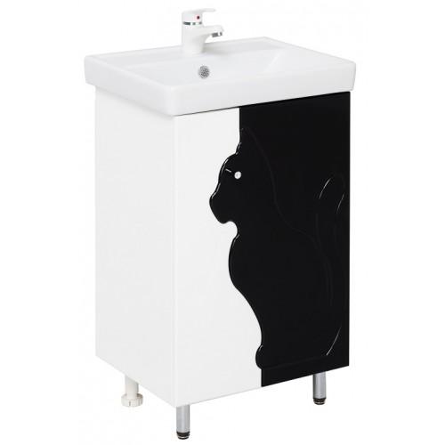 Кошка 50.11 Чёрно-белыйМебель для ванной<br>Тумба с раковиной Onika Кошка 50.11. Оснащено доводчиками дверей.<br>