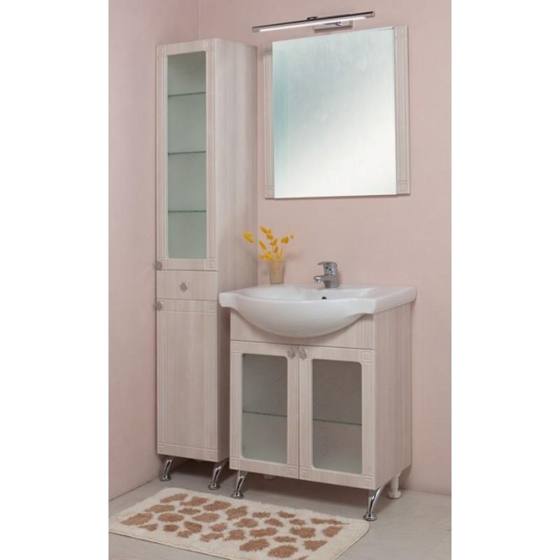 Аттика 65.18 БелыйМебель для ванной<br>Тумба с раковиной Onika Аттика  65.18, две распашные дверцы, полка стеклянная внутренняя, ручки - металл (хром), ножки передние (регулируемые) - металл (хром), ножки задние (регулируемые) - пластик.<br>