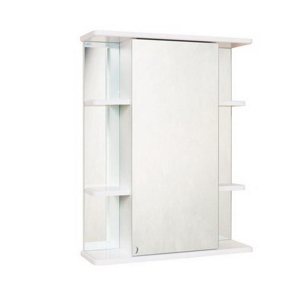 Глория 55 У БелыйМебель для ванной<br>Зеркальный шкаф Onika Глория 55 У, комплектация: фурнитура металл хром, блок «розетка-выключатель», трансформатор, 1 светильник.<br>