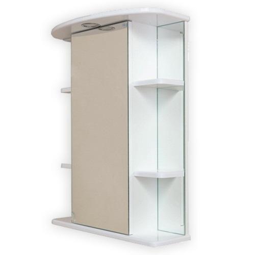 Глория 55.01 Белый, левыйМебель для ванной<br>Зеркальный шкаф Onika Глория 55.01 с подсветкой, комплектация: фурнитура металл хром, блок розетка-выключатель, трансформатор, 1 светильник.<br>