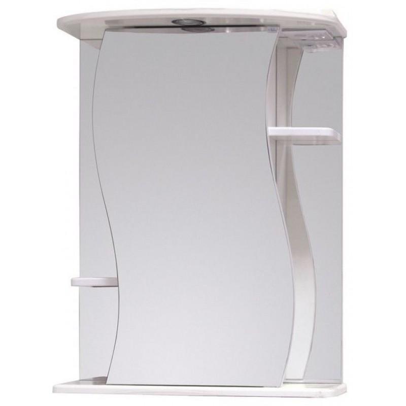 Лилия 55.01  Белый, правыйМебель для ванной<br>Зеркальный шкаф 205519 Onika Лилия 55.01 с подсветкой, комплектация: фурнитура металл хром, блок розетка-выключатель, трансформатор, 1 светильник.<br>