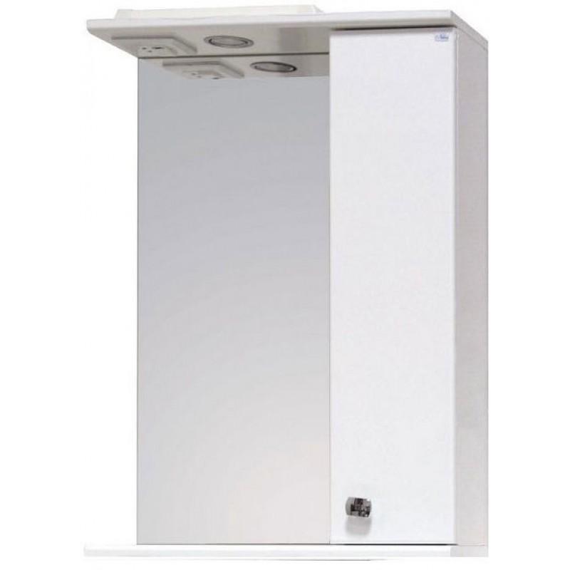 Ника 55.01 Белый, левыйМебель для ванной<br>Зеркальный шкаф Onika Ника 55.01 с подсветкой, комплектация: фурнитура металл хром, блок розетка-выключатель, трансформатор, 1 светильник.<br>