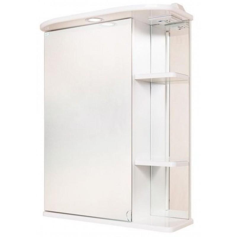 Карина 55.01 Белый, левыйМебель для ванной<br>Зеркальный шкаф Onika Карина 55.01 с подсветкой, комплектация: фурнитура металл хром, блок «розетка-выключатель», трансформатор, 1  светильник.<br>