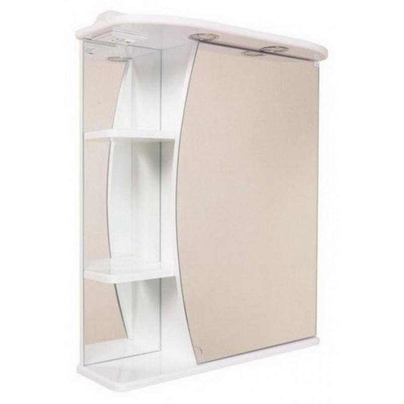 Луна 55.01 Белый, левыйМебель для ванной<br>Зеркальный шкаф Onika Луна 55.01 с подсветкой, фурнитура металл хром, блок розетка-выключатель, трансформатор, 1  светильник.<br>