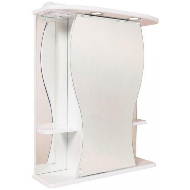 Фигура 55.01 Белый, левыйМебель для ванной<br>Зеркальный шкаф Onika Фигура 55.01 с подсветкой, комплектация: фурнитура металл хром, блок розетка-выключатель, трансформатор, 1 светильник.<br>
