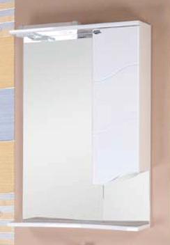 Лайн 58.01 Белый, левыйМебель для ванной<br>Зеркальный шкаф Onika Лайн 58.01 с подсветкой, комплектация:шкаф с полками с правой стороны, светильник встроенный с галогенной лампочкой, розетка с выключателем, полочка нижняя, козырёк верхний с трансформатором,зеркало - 3 мм  с амальгамой на основе серебра.<br>