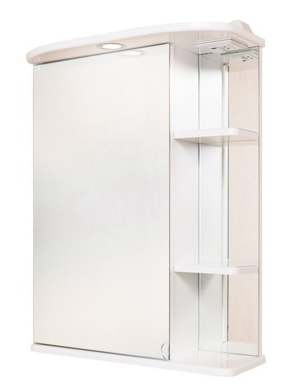 Карина 60.02 Белый, правыйМебель для ванной<br>Зеркальный шкаф 206010 Onika Карина 60.02 с подсветкой, комплектация: фурнитура металл хром, блок «розетка-выключатель», трансформатор, 1 светильник.<br>