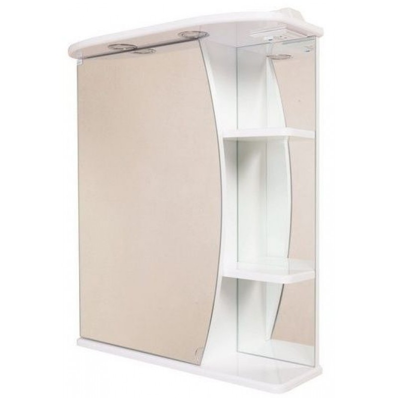 Луна 60.02 Белый, правыйМебель для ванной<br>Зеркальный шкаф 206014 Onika Луна 60.02 с подсветкой, комплектация: фурнитура металл хром, блок «розетка-выключатель», трансформатор, 2  светильника.<br>