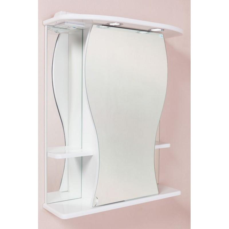 Фигура 60.02 Белый, правыйМебель для ванной<br>Зеркальный шкаф Onika Фигура 60.02 с подсветкой, комплектация: фурнитура металл хром, блок «розетка-выключатель», трансформатор, 1 светильник.<br>