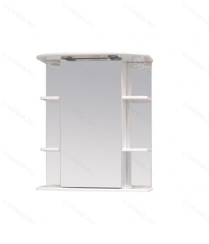 Глория 65.02 Белый, правыйМебель для ванной<br>Зеркальный шкаф 206507 Onika Глория 65.02 с подсветкой, фурнитура металл хром, блок розетка-выключатель, трансформатор, 2 светильника.<br>